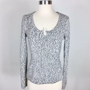 J. Crew Womens Marled Grey Tie Neck Peplum Sweater